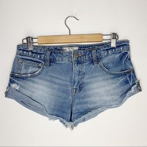 FREE PEOPLE low rise cut off cuffed jean shorts